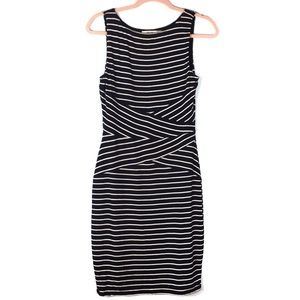 Bailey 44 Black and White Stripes Fitted Dress